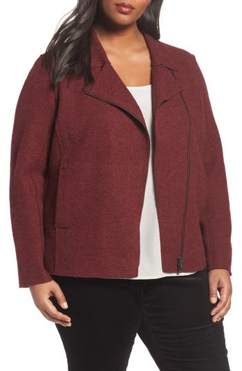 Plus Size Eileen Fisher Boiled Wool Moto Jacket, Red