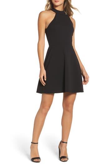 Charles Henry Mock Neck Fit & Flare Dress, Black