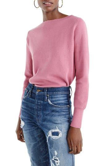 J.crew Merino Wool Blend Boatneck Sweater, Pink
