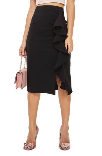 Women's Topshop Ruffle Midi Skirt, Size 2 US (fits like 0) - Black