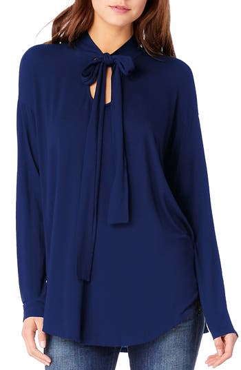 Michael Stars Tie Neck Blouse, Size One Size - Blue