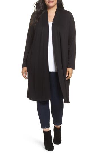Plus Size Women's Bobeau Two-Pocket Stretch Cardigan, Size 1X - Black