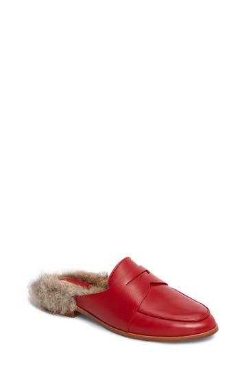 Louise Et Cie Dugan Ii Genuine Rabbit Fur Mule- Red