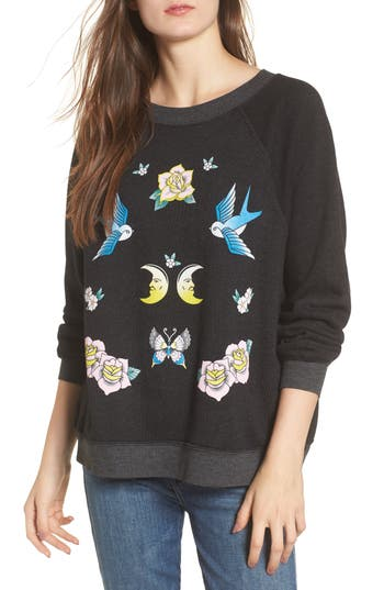 Women's Wildfox Flash Sweatshirt, Size X-Small - Black