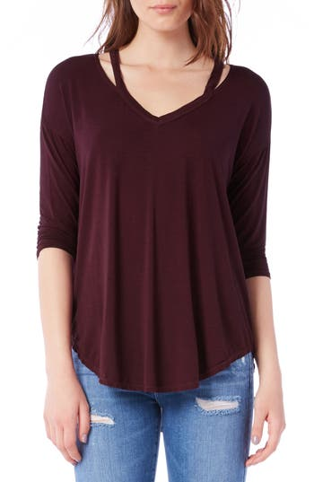 Michael Stars Shoulder Cutout Jersey Top, Size One Size - Brown