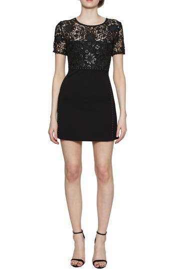 Women's French Connection Clementine Sequin Sheath Dress, Size 0 - Black