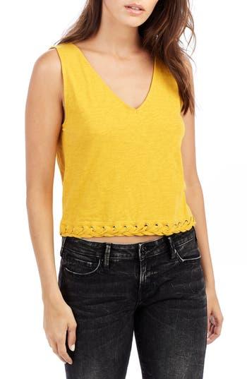 True Religion Brand Jeans Laced Hem Tank, Yellow