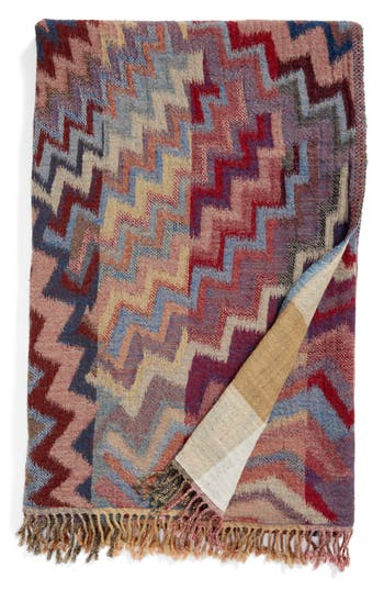 Modern Staples Chevron Double Face Merino Wool Throw, Size One Size - Red