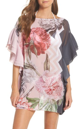 Ted Baker London Palace Gardens Ruffle Cover-Up Dress, Grey
