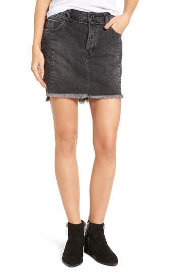 Band Of Gypsies Eve Step Hem Denim Miniskirt, Black
