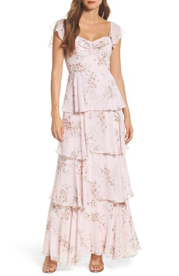 Wayf Abby Off The Shoulder Tiered Dress, Pink