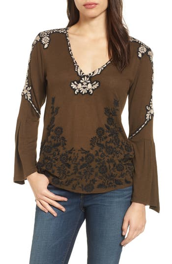 Women's Lucky Brand Bell Sleeve Embroidered Top, Size Medium - Green