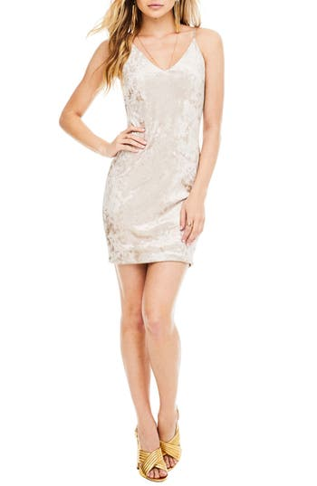 Astr The Label Coco Embellished Velvet Minidress, Metallic