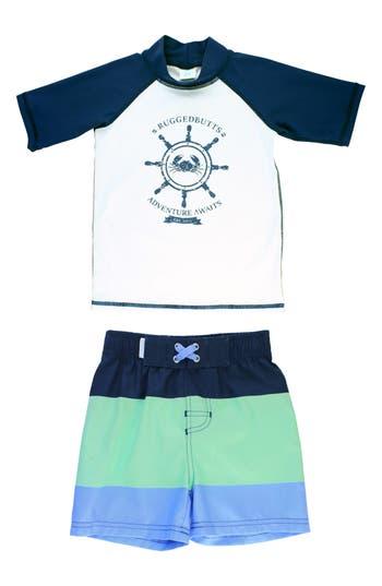 Infant Boys Ruggedbutts Nautical AdventuretwoPiece Rashguard Swimsuit Size 612M  White