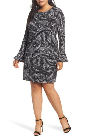 Plus Size Michael Michael Kors Abstract Palm Dress, Black