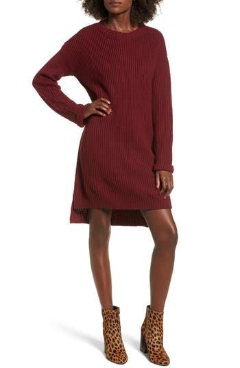 Cotton Emporium Cuff Sweater Dress, Burgundy