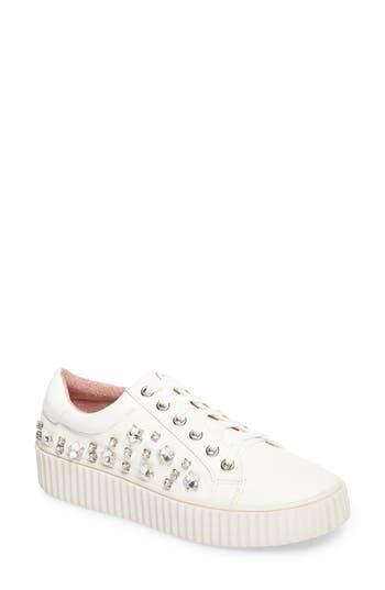 Lauren Lorraine Pam Embellished Platform Sneaker, White