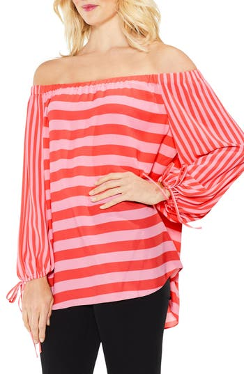 Women's Vince Camuto Off The Shoulder Even Stripe Bubble Sleeve Top, Size XX-Small - Orange