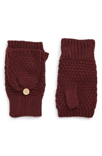 Nyc Underground Flip Top Textured Mittens, Size One Size - Burgundy