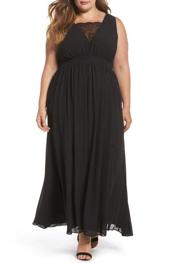 Plus Size Women's Soprano Lace Inset Maxi Dress, Size 1X - Black