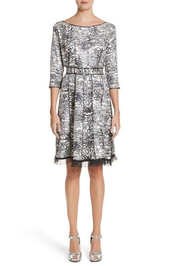 Marc Jacobs Squiggle Print Gored Dress, Black
