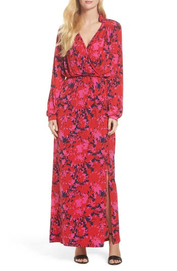 Women's Leota Bridget Faux Wrap Maxi Dress, Size X-Small - Red