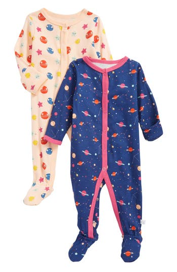 Infant Girl's Rosie Pope Planets & Constellations 2-Pack Footies, Size 0-3M - Coral