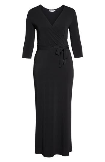 plus size women's leota perfect faux wrap maxi dress, size 3x - black