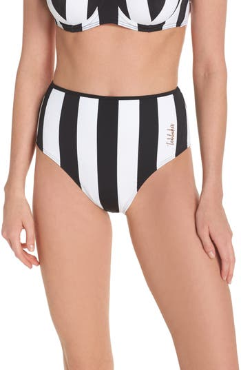 Ted Baker London Monochrome High Waist Bikini Bottoms, Black