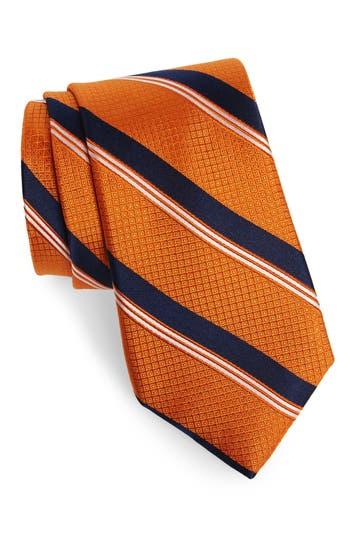 Men's Nordstrom Men's Shop Stripe Silk Tie, Size X-Long - Orange