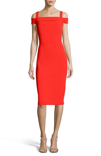 Eci Cold Shoulder Ruffle Sheath Dress, Red