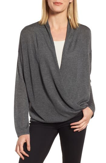 Eileen Fisher Faux Wrap Tencel & Merino Wool Sweater, Grey
