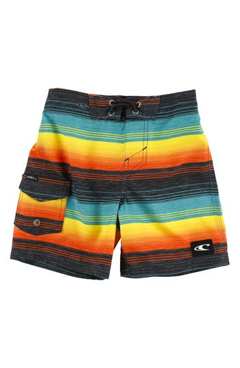 Toddler Boy's O'Neill Santa Cruz Stripe Board Shorts, Size 2T - Blue