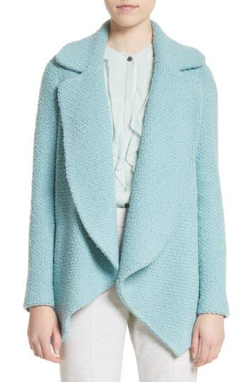 St. John Collection Plush Boucle Wool & Silk Cardigan, Size Petite - Blue/green