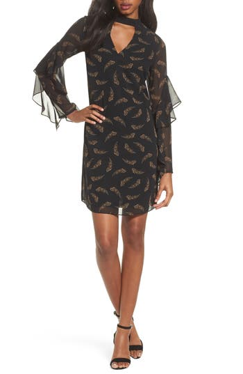 Sam Edelman Feather Print Choker Collar Dress, Black