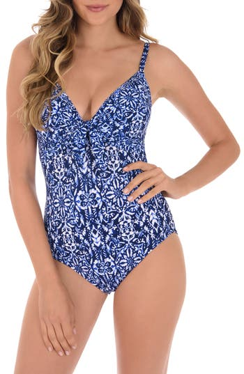 Miraclesuit Majorca Pin-Up One-Piece Swimsuit, Blue