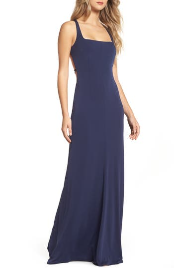 Maria Bianca Nero Amber Tie Back Gown, Blue