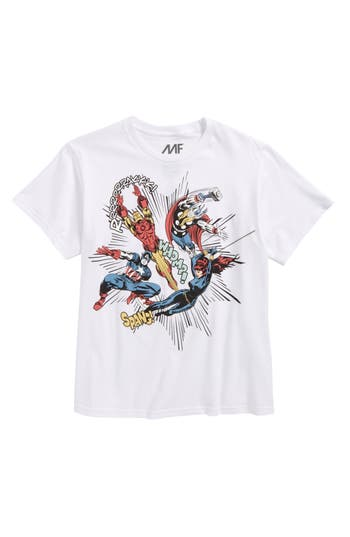 Boy's Mighty Fine Avengers Oversided Action T-Shirt, Size S (8) - White