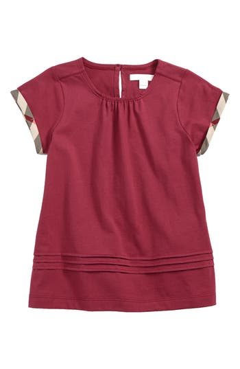 Infant Girls Burberry Gisselle Pleated Cuff Sleeve Tee Size 9M  Pink