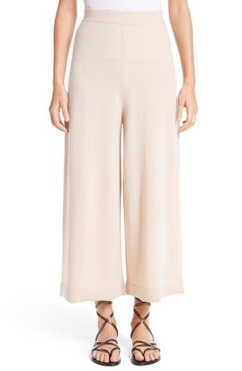 Rosetta Getty Cashmere Crop Wide Leg Pants, Beige