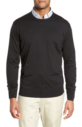 Peter Millar Crown Soft Cotton & Silk Sweater, Black