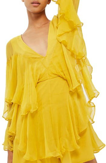 Women's Topshop Ruffle Plunge Romper, Size 4 US (fits like 0-2) - Yellow
