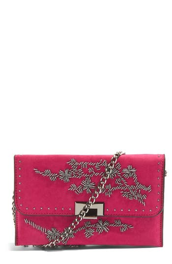 Topshop Floral Beaded Convertible Clutch - Pink