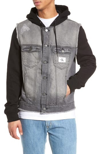 Calvin Klein Jeans Trucker Hoodie, Black