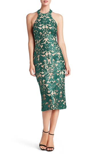 Dress The Population Cassie Sequin Midi Dress, Green
