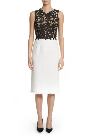 Oscar De La Renta Lace Bodice Sheath Dress, White