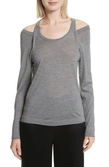 T By Alexander Wang Wash & Go Cold Shoulder Merino Wool Sweater, Grey