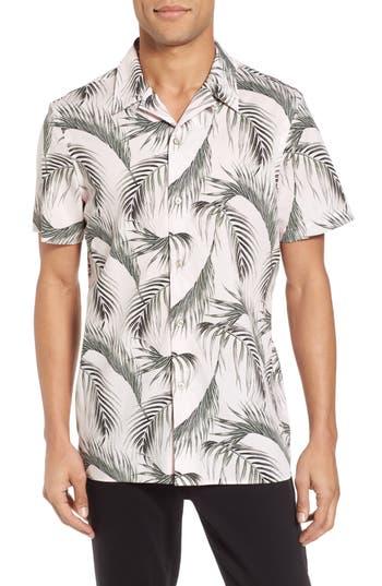Calibrate Slim Fit Short Sleeve Print Camp Shirt, Pink