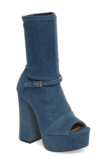 Shellys London Haimi Sequin Sock Bootie Blue
