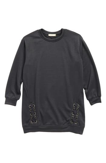 Girl's Soprano Side Lace Sweatshirt, Size S (8-10) - Grey